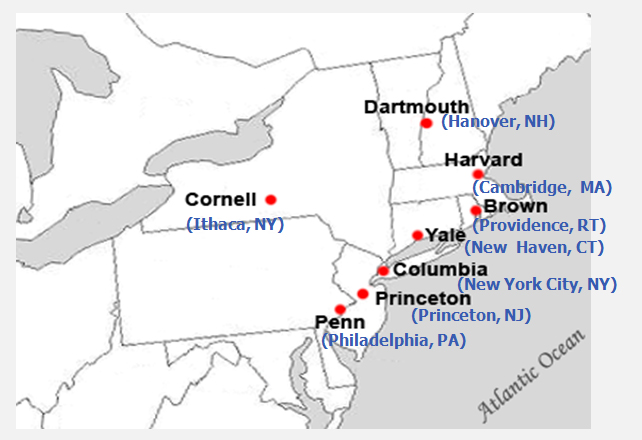 Ivy League Map Ivy League Schools Ranking Inspiring World Map